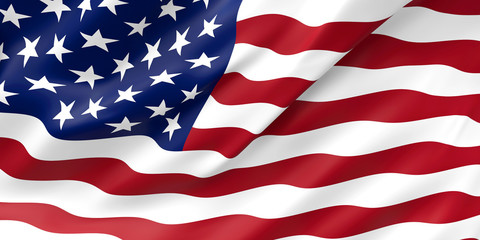 United States Flag Closeup Illustration. Waving flag of USA