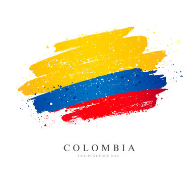Flag of Colombia. Brush strokes drawn by hand. Independence Day.