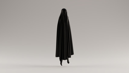 Black Ghost Floating Evil Spirit 3 Quarter View 3d illustration 3d render