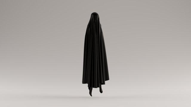 Black Ghost Floating Evil Spirit 3 Quarter View 3d illustration 3d render
