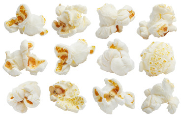 Rich collection of popcorn, isolated on white background Fotobehang