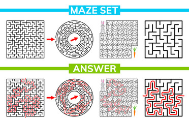 Maze, labyrinth conundrum for kids. Maze set, collection labyrinth. Children puzzle game. Vector stock illustration