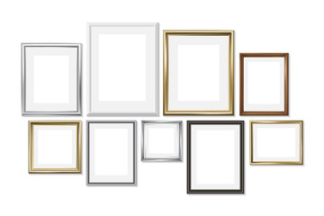 Set of different picture frames isolated on white background. Gold, silver, wood. Vector illustration, EPS 10