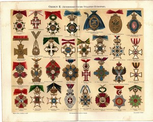 badges. Lithograpy from 1895-1909. From Meyers and Brockhaus Konversationslexikon 5th and 6th Edition. Colourful painting.
