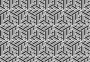 Abstract geometric pattern with stripes, lines. Seamless vector background. White and black ornament. Simple lattice graphic design Wall mural