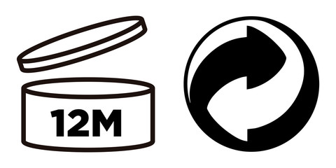 12M Period after opening (PAO symbol) and Recycling symbol for cosmetics packaging.
