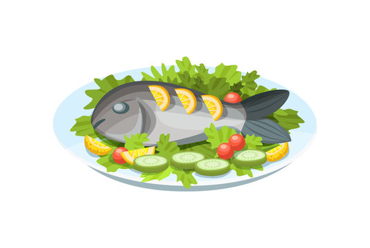 Delicious dish - tender fish meat, with greens, lemon and vegetables.