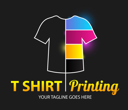 Abstract modern colored vector logo template of t-shirt printing. For typography, print, corporate identity, workshop, branding, factory, serigraphy, isolated on black background.