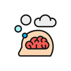 Vector think, thought, idea, mind, dream cloud, dialog flat color line icon.