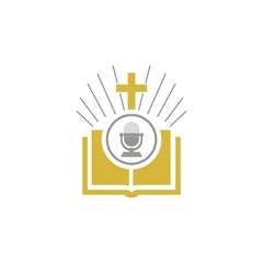 Bible and microphone logo