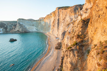 Chiaia di Luna beach at the sunset. Ponza island, Italy