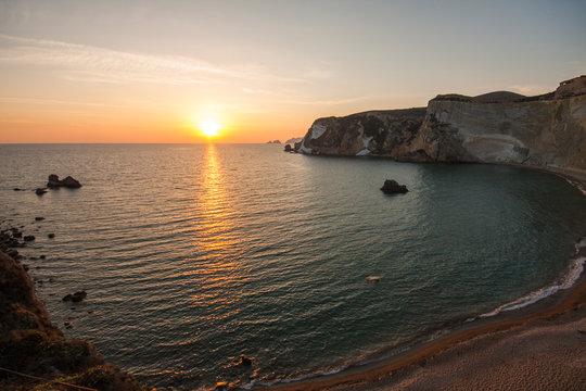 Chiaia di Luna beach at the sunset. Ponza island, Italy