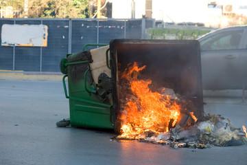 Fire in a garbage bin