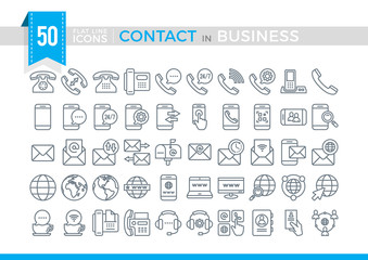 Set Vector Flat Line Contact in Business.