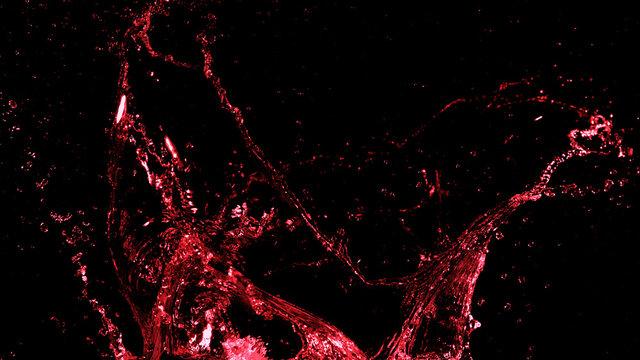 Abstract red wine splash shape on black background
