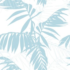 Nature seamless pattern. Hand drawn  tropical summer background: baby blue palm tree leaves, line art. White background.