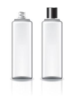 White square cosmetic bottle with black plain screw lid for beauty or healthy product. Isolated on white background with reflection shadow. Ready to use for package design. Vector illustration.