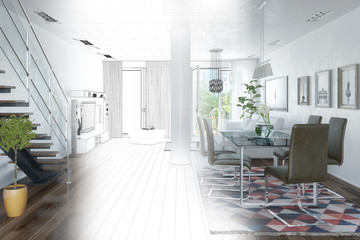 3d render of a modern loft with large window - wireframe