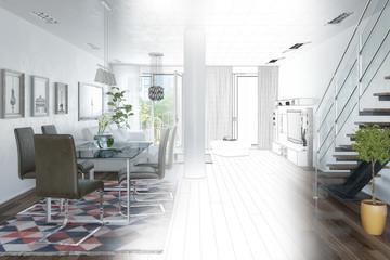 3d Illustation - Modernes Loft mit großen Fenster - Helles Wohnzimmer mit einem Esstisch und einer großen Couch - Wireframe
