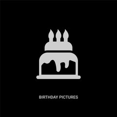 white birthday pictures vector icon on black background. modern flat birthday pictures from party concept vector sign symbol can be use for web, mobile and logo.