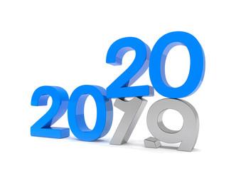 3d illustration - 2019 - 2020 - Silvester, Neujahr, Countdown, Jahreszahlen - blau