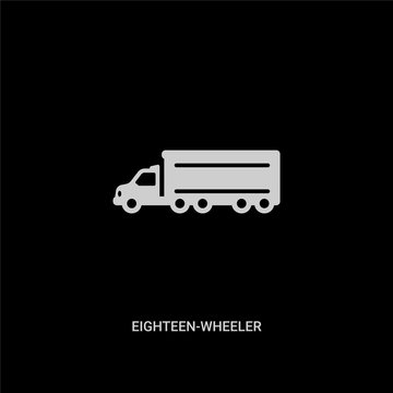 white eighteen-wheeler vector icon on black background. modern flat eighteen-wheeler from transportation concept vector sign symbol can be use for web, mobile and logo.