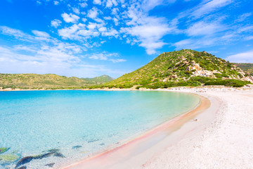 View of a Punta Molentis beach, Sardinia, Italy