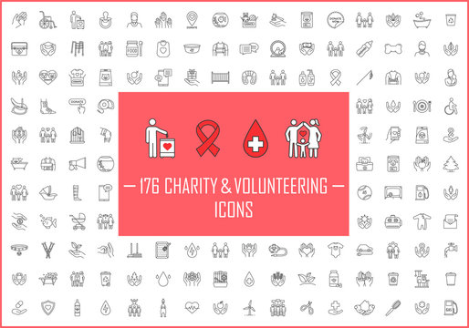 Charity and volunteering linear icons big set. Thin line contour symbols. Fundraising, philanthropy, humanitarian help, charitable organization. Isolated vector outline illustrations. Editable stroke