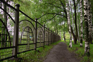 fence in the Park refinery in Yaroslavl. Low point shooting. Path among trees