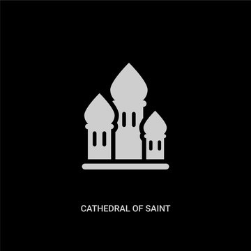 white cathedral of saint basil vector icon on black background. modern flat cathedral of saint basil from buildings concept vector sign symbol can be use for web, mobile and logo.