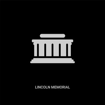 white lincoln memorial vector icon on black background. modern flat lincoln memorial from buildings concept vector sign symbol can be use for web, mobile and logo.
