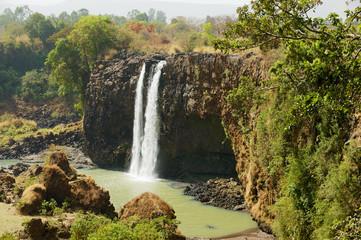 Waterfall at the Blue Nile river in dry season in Bahir Dar, Ethiopia.