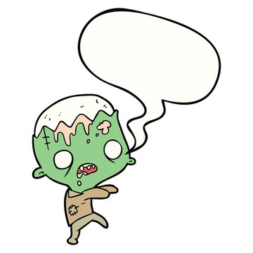 cute cartoon zombie and speech bubble