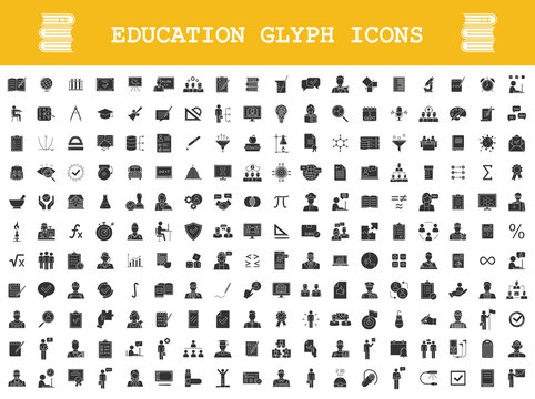Education glyph icons big set. School, college, university, self study, business education. Educational program. E learning, online courses, classes. Silhouette symbols. Vector isolated illustration