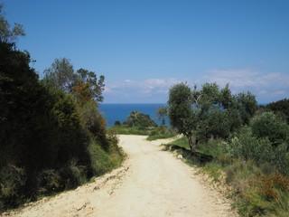 Weg zum Kap Drastis, Lorfu, Griechenland