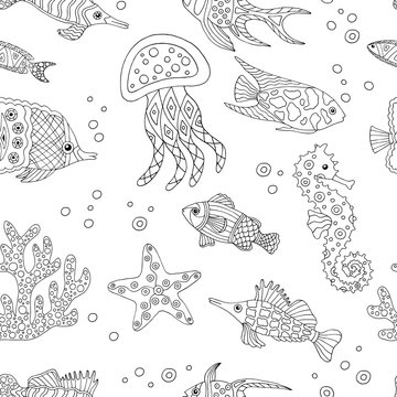 Abstract seamless pattern with hand-drawn sea fish, coloring page