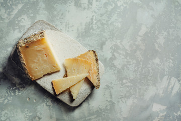 "semi-cured sheep cheese ""Villarejo Rosemary"". Cuenca, Spain"