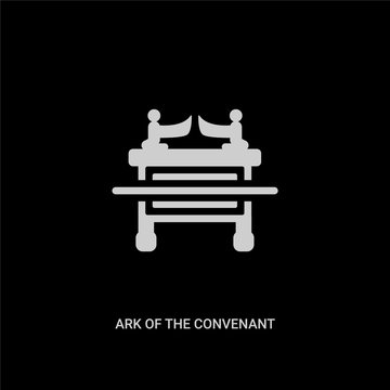 white ark of the convenant vector icon on black background. modern flat ark of the convenant from religion concept vector sign symbol can be use for web, mobile and logo.