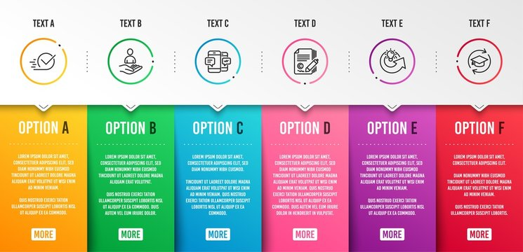 Recruitment, Smartphone sms and Copywriting icons simple set. Share idea, Checkbox and Continuing education signs. Hr, Mobile messages. Education set. Infographic template. 6 steps timeline. Vector