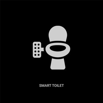 white smart toilet vector icon on black background. modern flat smart toilet from smart home concept vector sign symbol can be use for web, mobile and logo.