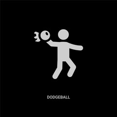 white dodgeball vector icon on black background. modern flat dodgeball from sport concept vector sign symbol can be use for web, mobile and logo.