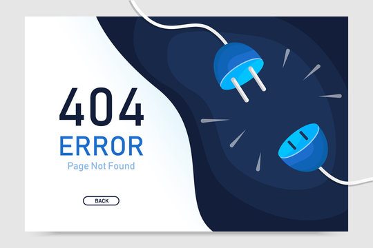 404  error page not found vector with plug graphic  design template for website background graphic