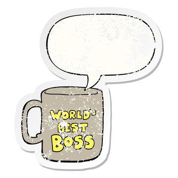worlds best boss mug and speech bubble distressed sticker