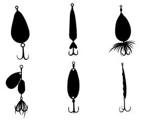 Fishing lures, hooks and equipment silhouettes isolated on white background.