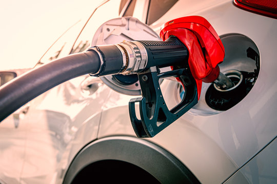 Close up of car refueling at gas station service