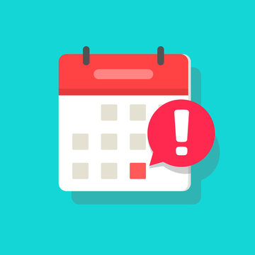 Calendar deadline important notice or event reminder notification vector icon, flat cartoon agenda symbol with selected day and notice message isolated image