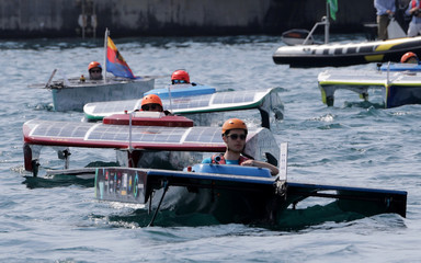Solar boats parade in the port of Monaco during the 6th Monaco Solar & Energy boat challenge, a race to imagine and build the future of yachting