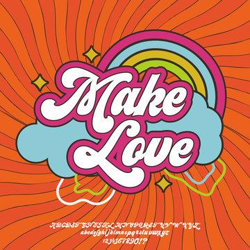 Make Love. Script font in 1980s style. Illustration of 1980 retro flat poster.
