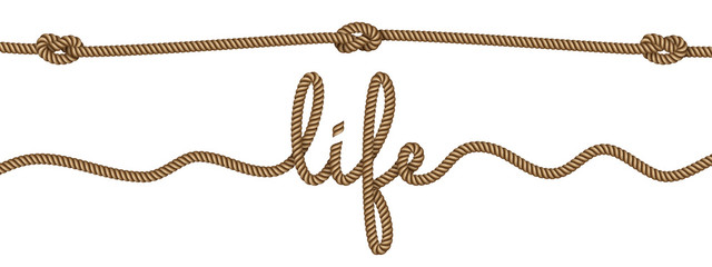 Rope lettering and design elements on the theme of life. Vector illustration EPS 10.