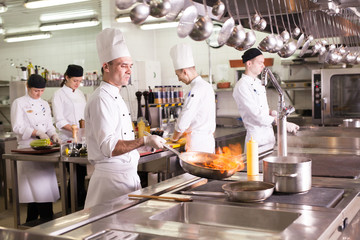 the work of the cook in the kitchen of the restaurant.